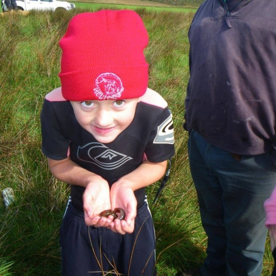 Patrick with one of the Australian Mudfish discovered at Lake Hawdon South