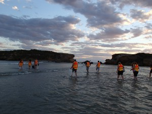 Volunteers crossing to Middle Island for a Little Penguin dusk arrival count