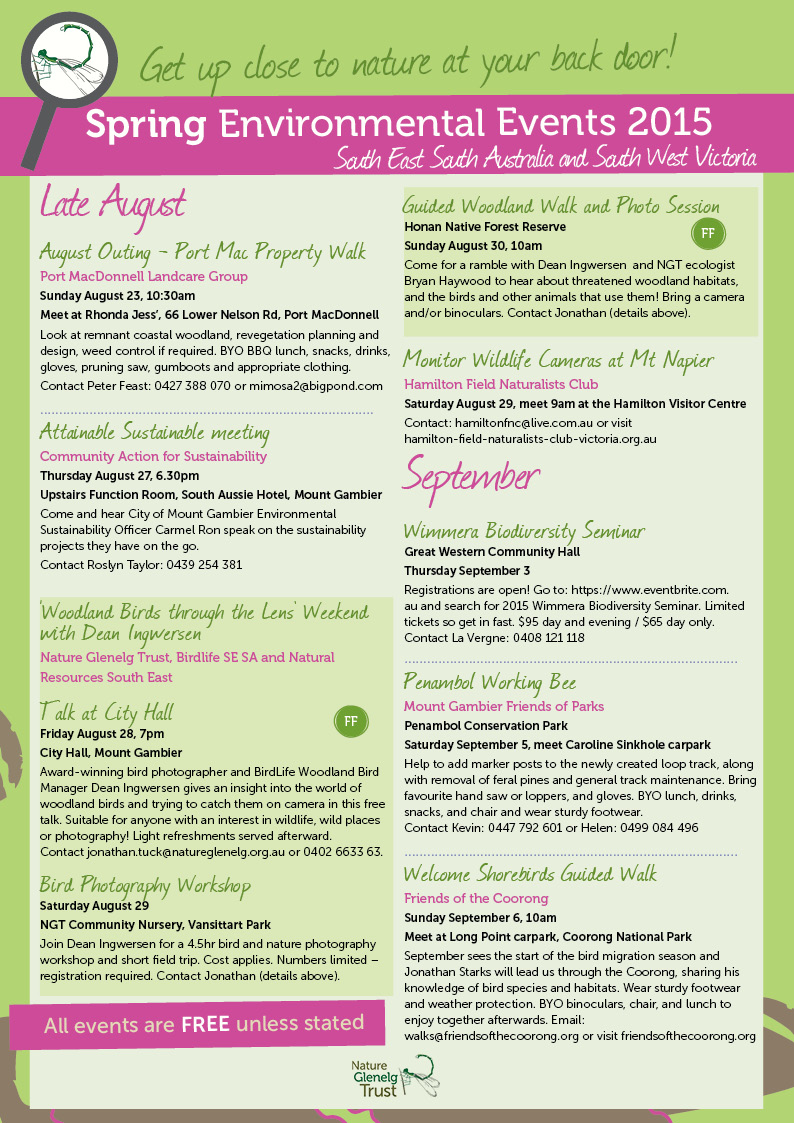 Spring Environmental Events Calendar Page 1