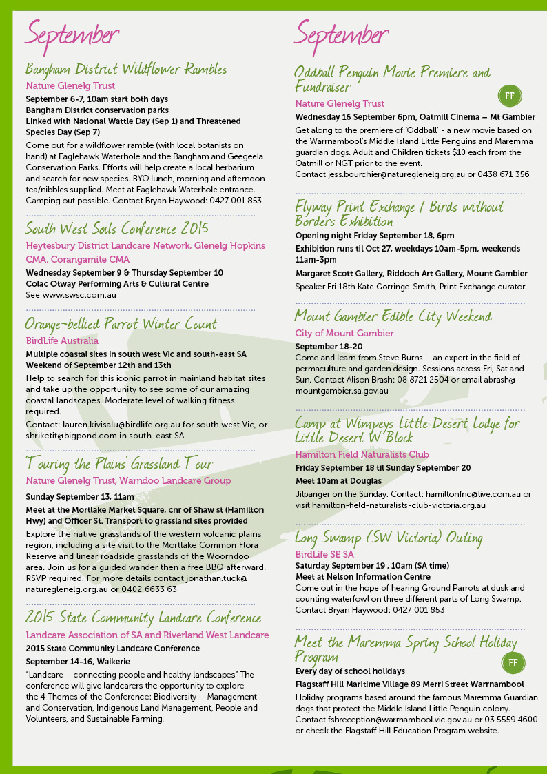 Spring Environmental Events Calendar Page 2