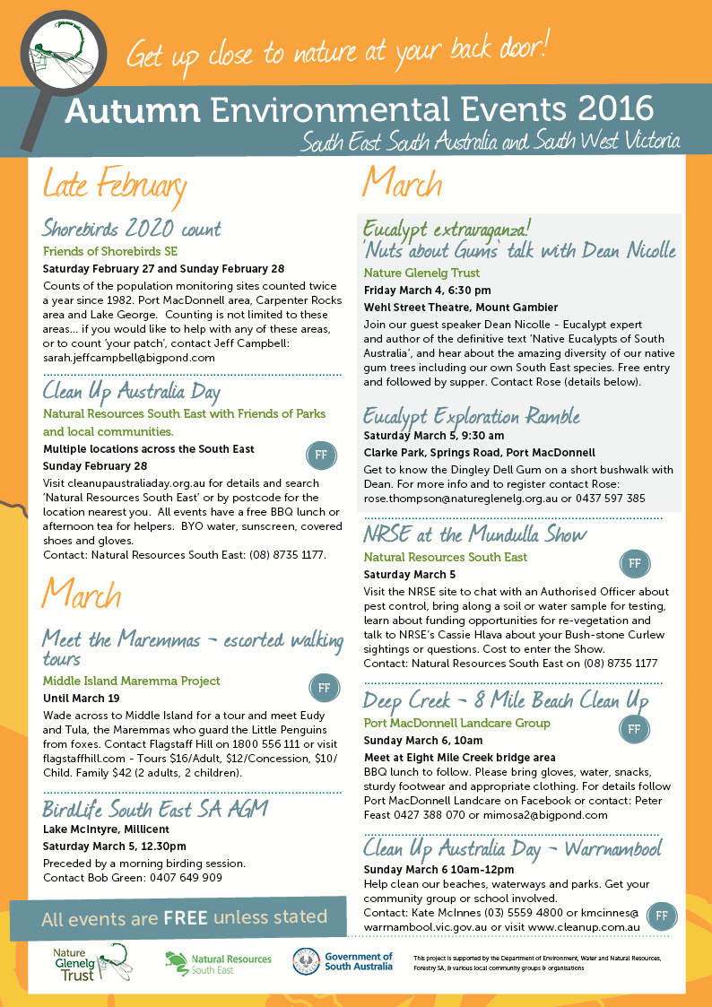 Autumn Environmental Events Calendar Page 1