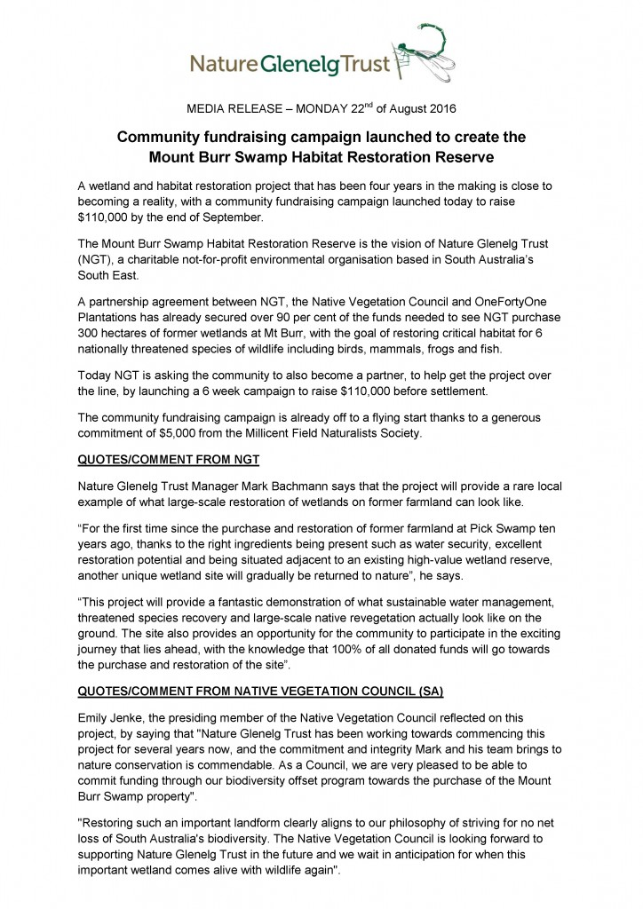 Page 1 of the Media Release