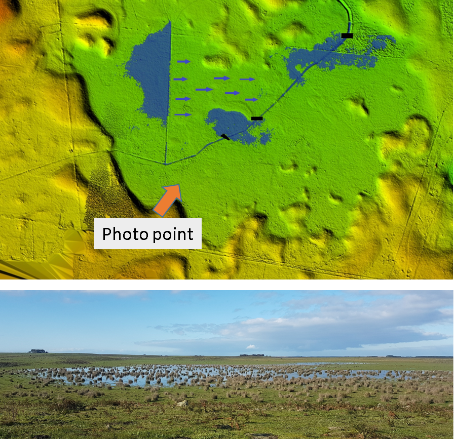 A digital terrain model showing strategic blockage points and projected inundation. The photo shows how it looks at the moment, on the back of a wet winter.