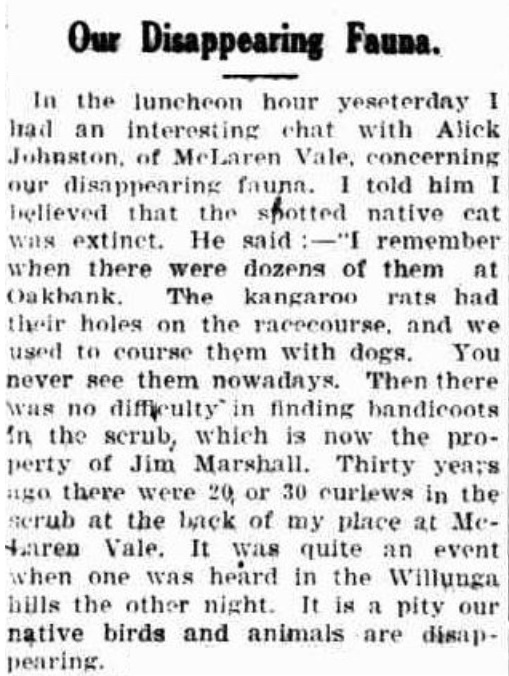 A submission to the Register recalling the disappearing fauna from locations near Adelaide in June 1930.