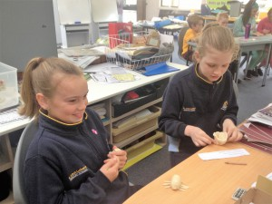 St John's students getting creative during the Burrowing Cray sculpting activity