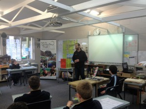 Lachie talking with students about Freshwater Burrowing Crayfish at the Portland District Environmental Workshop