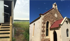 Sunday's woolshed (left) and Friday night's Chapel (right)