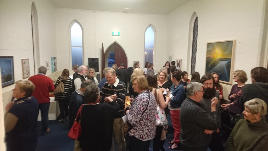 Just some of the people that came along to enjoy the Cross Border art exhibition
