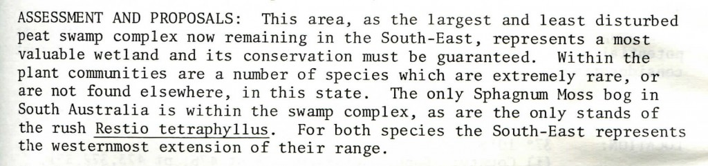 About the Marshes - From Page 13 of Warren Jones (1978) NCSSA Report on Wetlands in the South East