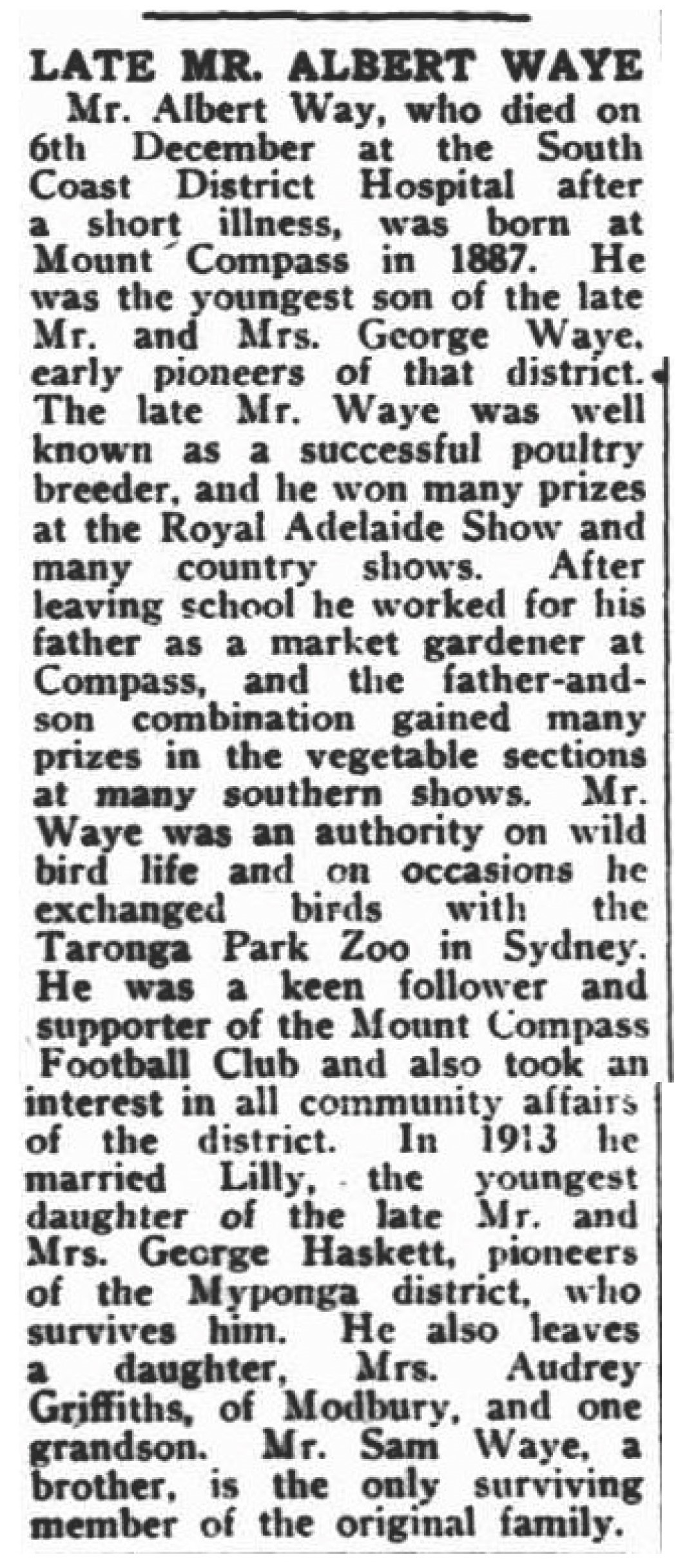 Obituary of Albert Waye: Victor Harbour Times, Friday 15 December 1961.