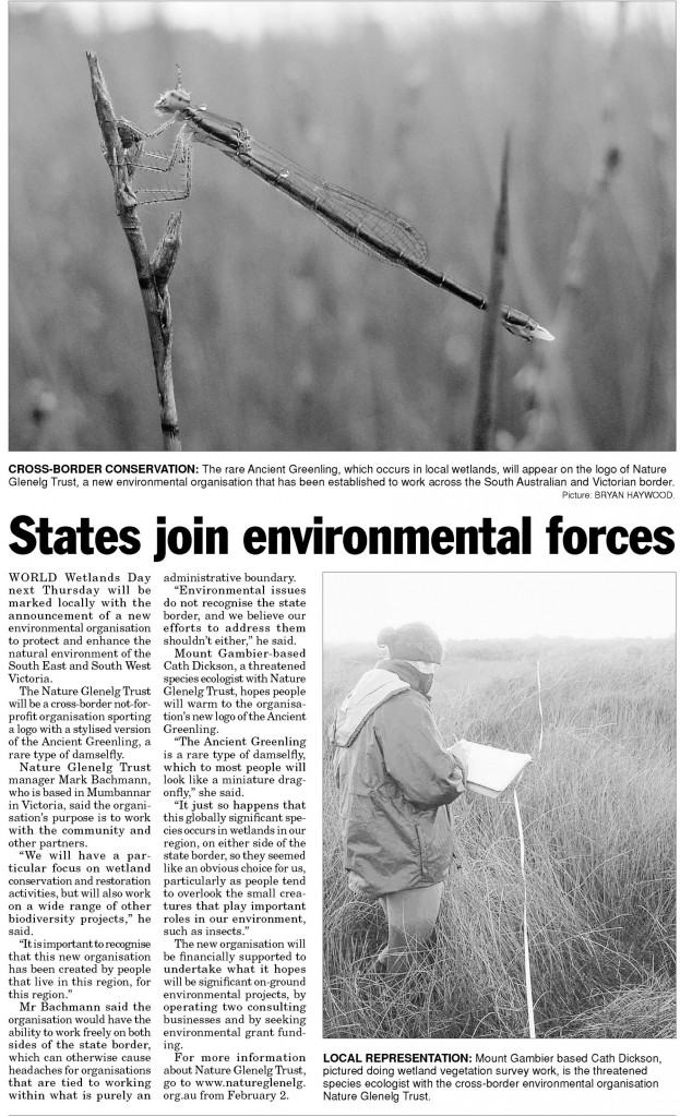 Article on Page 17 of the Border Watch, Tuesday the 24th of January 2012.