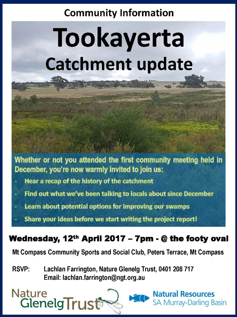Details for the Tookayerta Catchment Assessment community session on the 12th of April, 2017 at Mt Compass