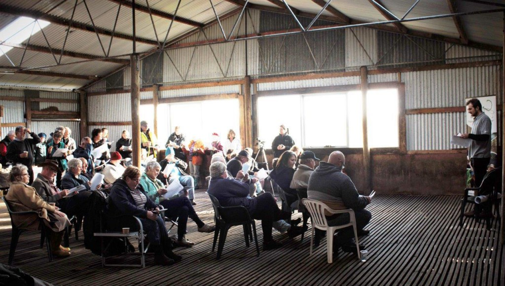 Supporters hear about the latest Mt Burr Swamp news. Photo by Lachlan Farrington