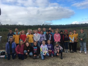 Year 5/6/7students from Glenburny Primary School after a busy morning planting at Drycreek to Honeysuckle corridor