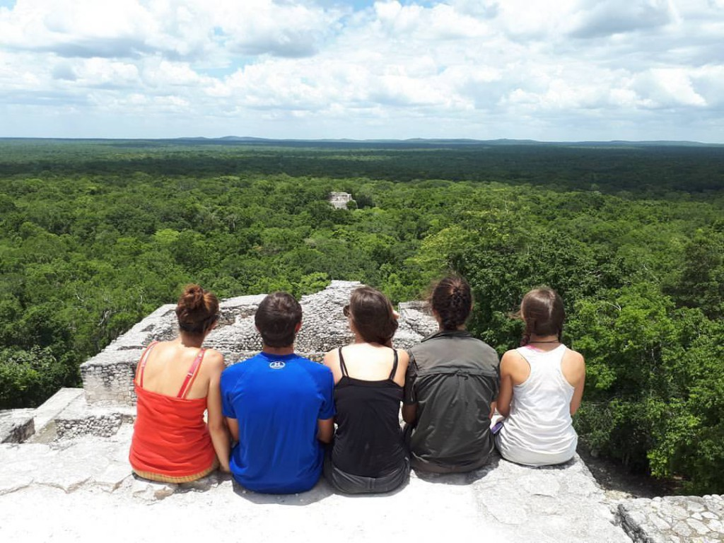 Atop Structure 2, the highest building at Calakmul (45 m), looking over the forest