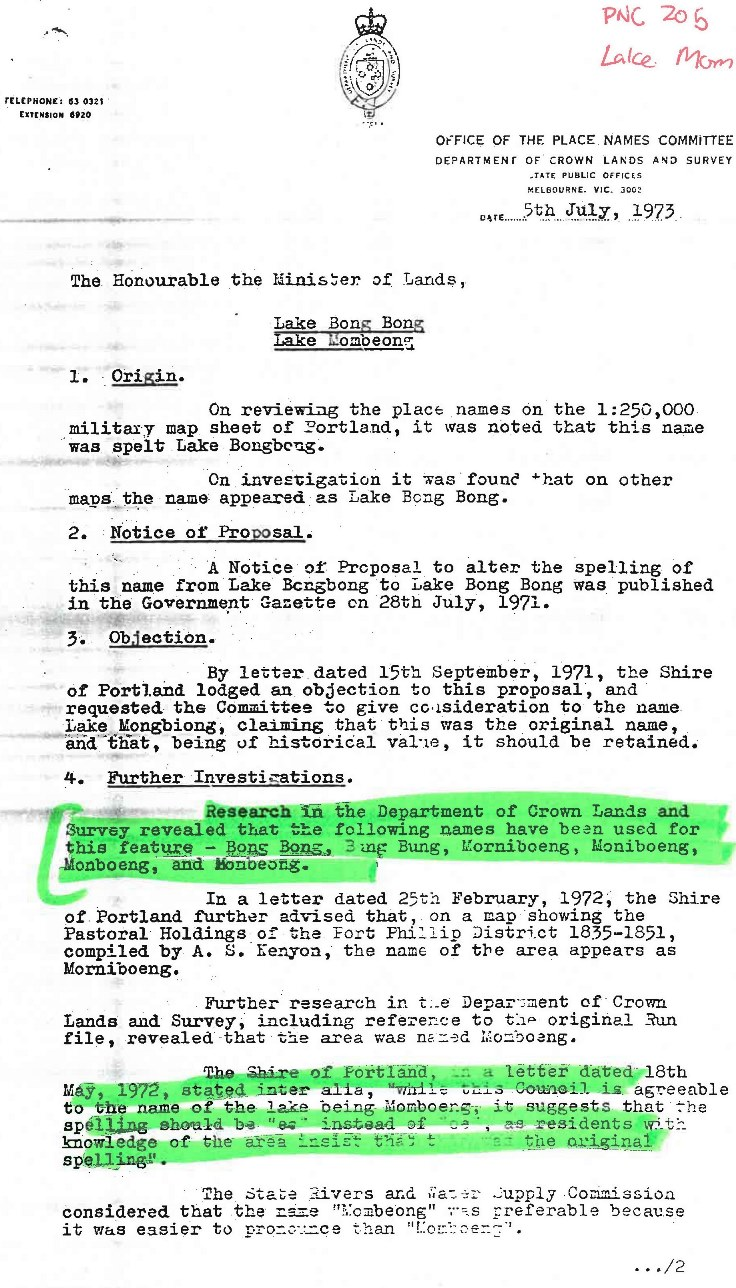 Page 1 of the Place Names Committee report from July 5th 1973.