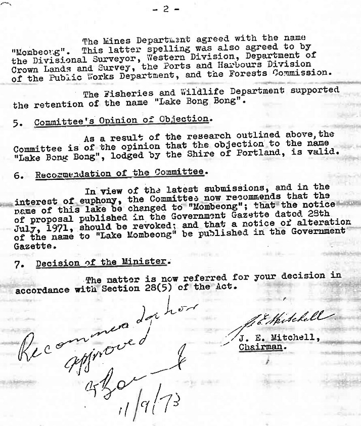 Page 2 of the Place Names Committee report from July 5th 1973.