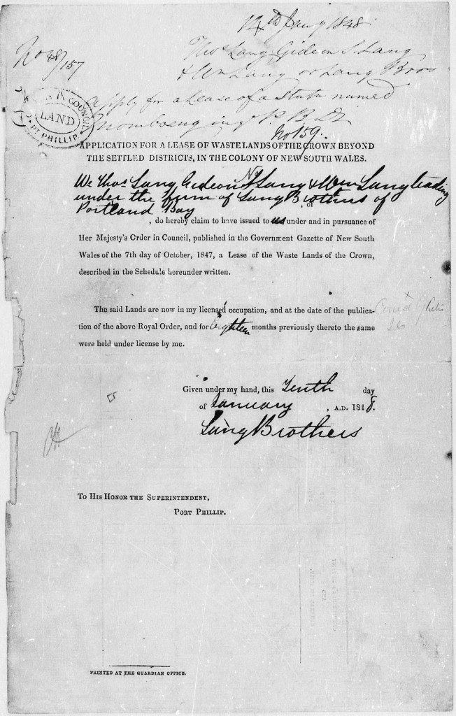"""Application for a Lease of Wastelands of the Crown Beyond the Settled Districts, in the colony of New South Wales"" - filled out by the Lang Brothers and Allocated Licence Number 159."