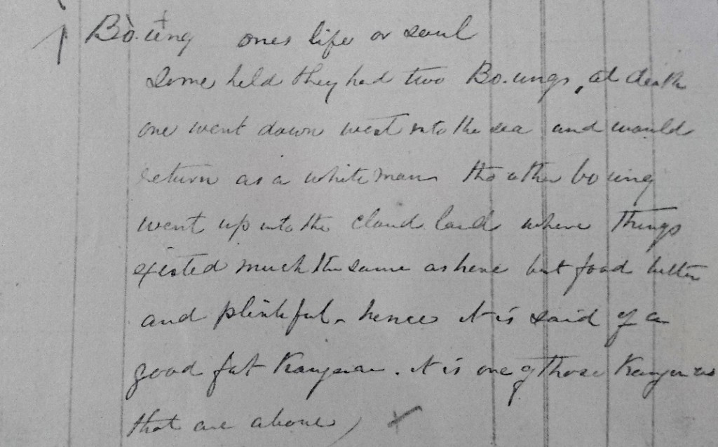 Extract from a copy of Duncan Stewart's Vocabulary Diary from the 1870s (from Geoff Aslin Collection, Mt Gambier).