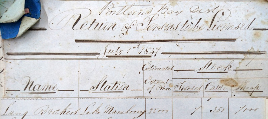 Stock returns of persons to be licensed - dated 1st July 1847. Revealing the earliest recorded name of Lake Mamboong.
