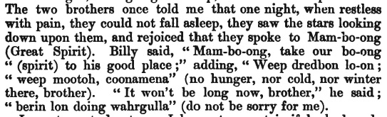 The passage from Page 79 in Christina Smith's book from 1880, that refers to the Mamboong, or Great Spirit.