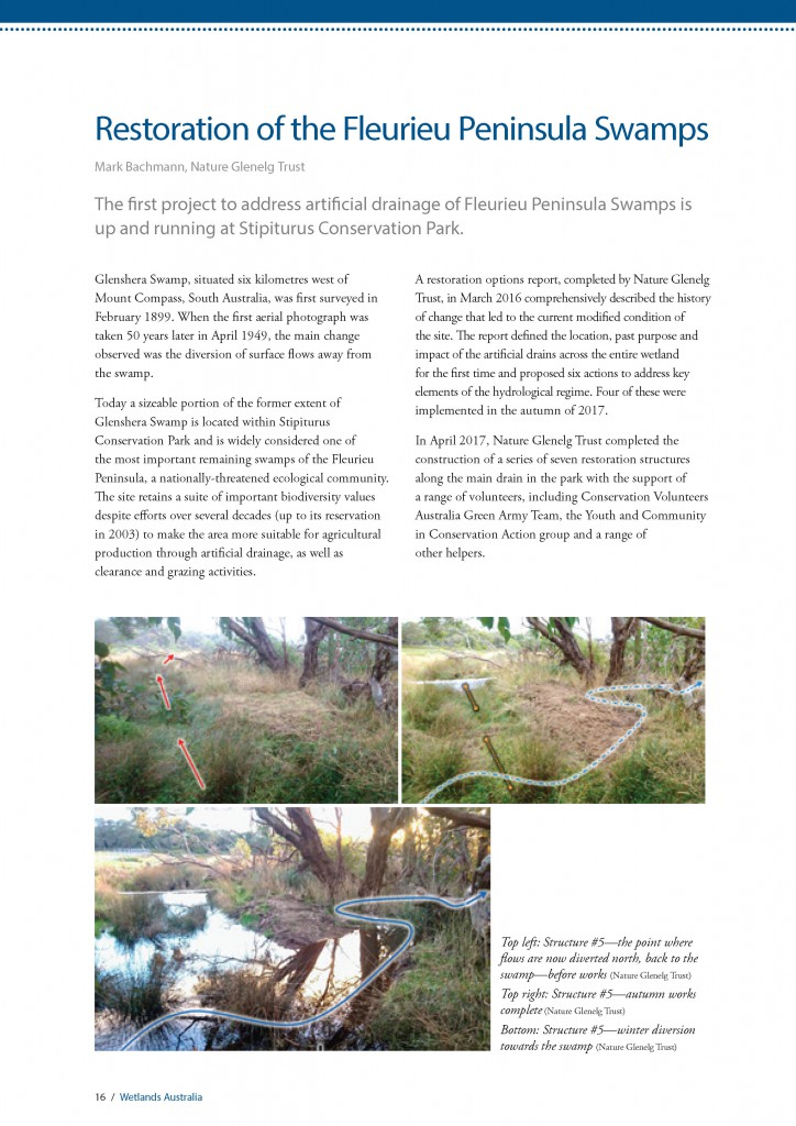 The first page of the NGT article in Wetlands Australia magazine, Issue #30.