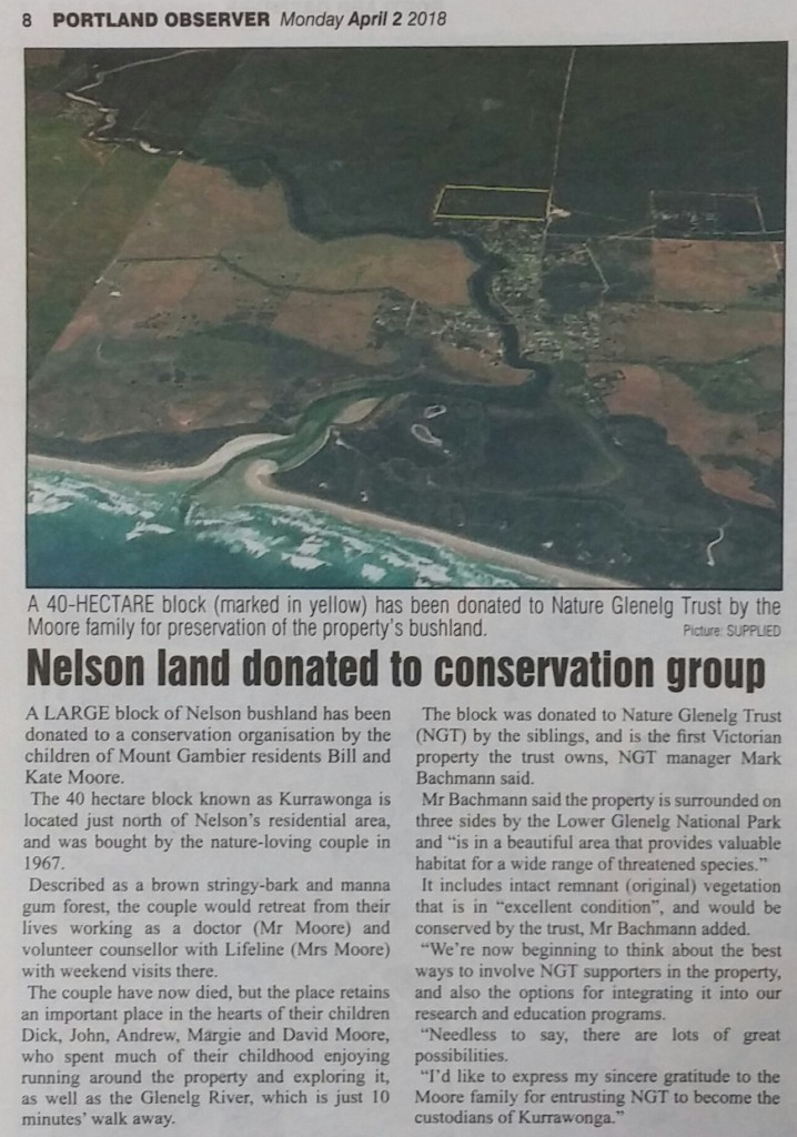 Nelson Land Donated to Conservation Group - Article in the Portland Observer, 2nd April 2018