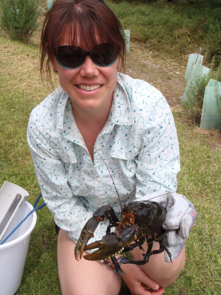Nicole with her first Glenelg spiny crayfish.